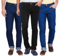 Men Blue & Black Slim Fit Jeans at Rs.999
