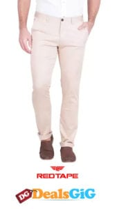 Beige Men's Casual Cotton Spandex Trouser by Red Tape at Rs.699
