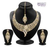Sleek Gold plated AD Stone Necklace Set by Sukkhi