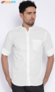 White Slim Fit Casual Shirt by Highlander at Rs.549 only