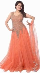 Anarkali Gown(orange) Make pament with phonepe and get it for Rs.253/-