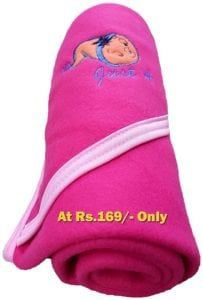 Get EXTRA LARGE Cute Baby Blanket with Hooded Side Boon Border at Rs.169/- only
