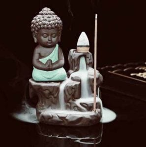 Monk Buddha Smoke Back flow Cone Incense Holder- With 10 Free Incence Cones Showpiece – 12 cm  (Ceramic, Green) at Rs,524/-
