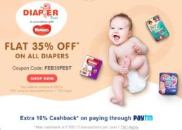 Diaper Fest – Flat 35% Discount on all Diapers and get 10% extra cashback with PayTM