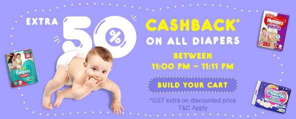 11 minute SALE – Get extra 50% CASHBACK on all Diapers (Expired)