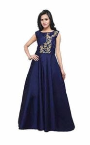 Women's Navy Blue Taffeta Silk Blouse Work Stitched Long Gown For Girls at Rs.649/-