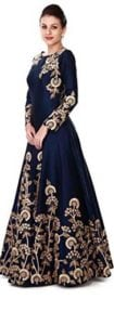 Women's Taffeta Silk Anarkali Salwar Suit Set (Eed-Ea10756_Blue_Free Size)  at Rs.3400
