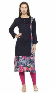 Mafatlal Navy Blue Rayon Kurti at Rs.750/-