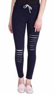 Women's Navy Blue Cotton Designer Track Pants  at Rs.499/-