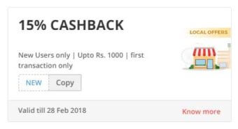 Get 15% and Upto Rs.1000 Cashback Offer for new user only