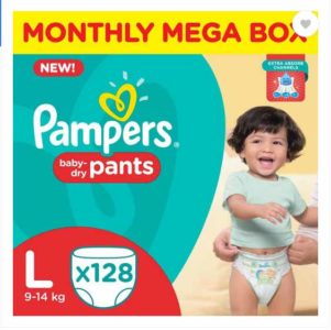 Pampers Pants Diapers Monthly Mega Box – L  (128 Pieces) at Rs.1299/-