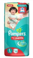 Pampers Large Size Diapers 48 pieces at Rs.486/- Only