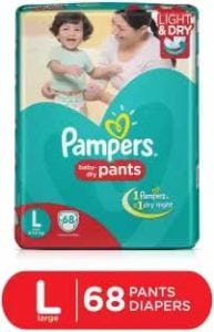 [Price Update] Pampers 68 pieces Diaper Pants Large Size at Rs.622 (see price comparison)