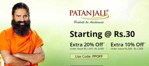 Patanjali Products Starting at Rs.30 and get extra 20% Off