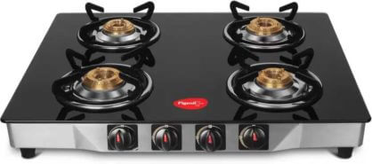 Pigeon Stainless Steel, Ultra Glass Manual 4 Burners Gas Stove at Rs.2,999/- Only