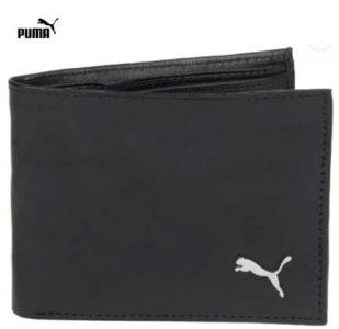 Puma Men Black Genuine Leather Wallet  (5 Card Slots) at Rs.258/-