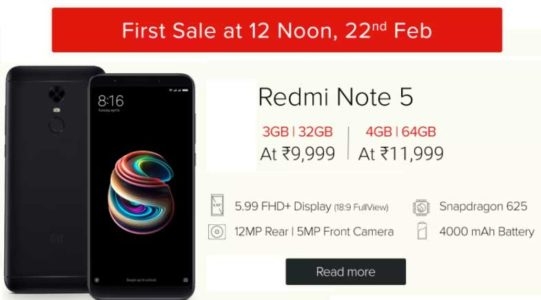 Redmi Note 5 Sale starts 12PM on 22nd February