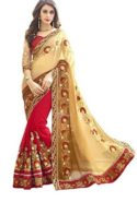 Embroidered Multi Colour Georgette Saree With Blouse Material  at Rs.1199/-