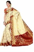 Women's Silk Saree (201-Heht-Mrn_Off White)  at Rs.1699/-