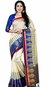 Women's Art Silk Saree With Blouse Piece (4060-229-2D-Hwt-Rblu,Off White,Free Size)  at Rs.1399/-