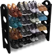 Plastic Collapsible Black Shoe Stand by Frazzer at Rs.299/- Only