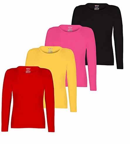 93fc6d19732b6 Kiddeo kids girls plain Full sleeve t shirts(pack of 4) at Rs.549 ...