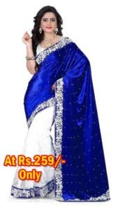 Half Velvet And Half Russell Saree With Blouse Piece at Rs.259/- Only