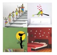 Wall Sticker Set Of 3 BirdSunriseBranch-TribalLady-Lovebirds