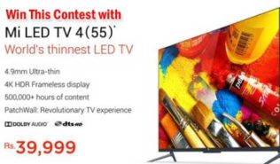 Mi Smart 4K Television 55 inch at Rs.39,999/- Only