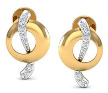 Yellow Gold and Diamond Stud Earrings for Women
