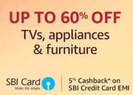 Get upto 60% discount on Appliances, TVs and furnitures on Amazon