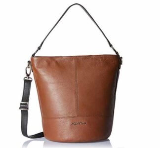 Aquatan Women's Ride Along Medium Leather Hobo Brown and Dark Green AT-M-21 at Rs.2598/-