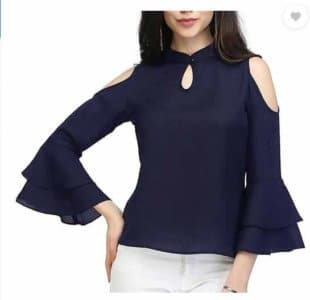 Fashion Party 3/4th Sleeve Solid Women's Blue Top at Rs.399/-