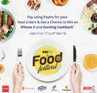 Win an iPhone-X and Cashback on Paytm Food Fest