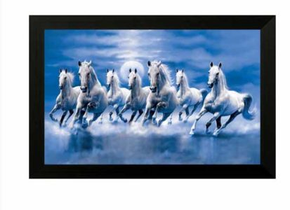 SAF Seven Horses Ink Painting  (14 inch x 20 inch) at Rs.299/-