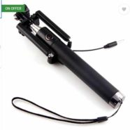 Cable Selfie Stick  (Black, Silver) at Rs.183/-