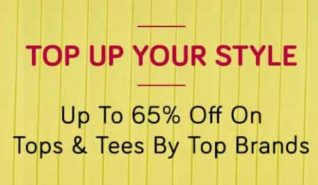 Get 65% discount on Tops and Tees on TataCliq