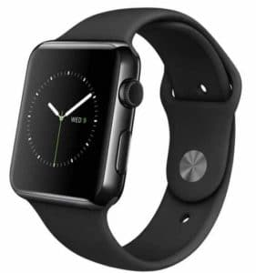 Apple Watch 42 mm Space Black Stainless Steel Case with Sport Band  (Black Strap Medium) at Rs.