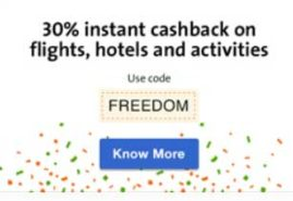 Get 30% percent Cashback Offer on Cleartrip Flights, Hotels and Activities