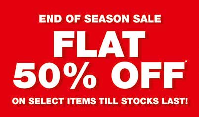 Get 50% Flat discount on selected items on Season SALE